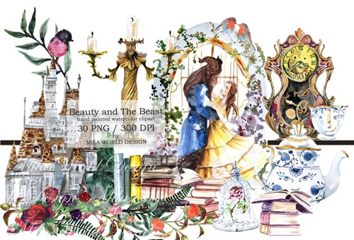 beauty-and-the-beast-watercolor-clip-art-jpg.932