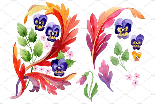 ornament-with-pansies-watercolor-png-jpg.333