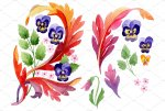 Ornament with pansies Watercolor png.jpg